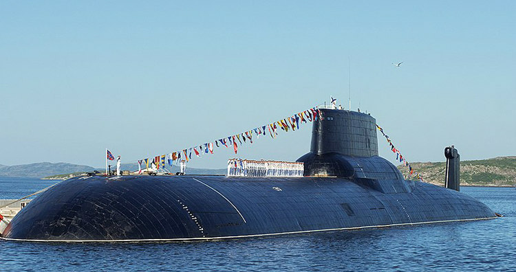 Typhoon-Class Submarine During a Naval Parade