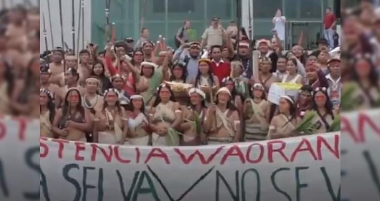 Waorani indigenous community protest