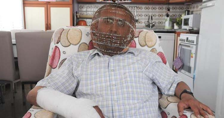 Turkish man wears a cage