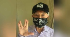 George Takei sports a Star Trek-themed mask