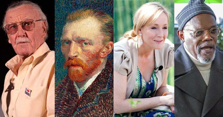 Stan Lee, J.K Rowling, Samuel Jackson, Van Gogh