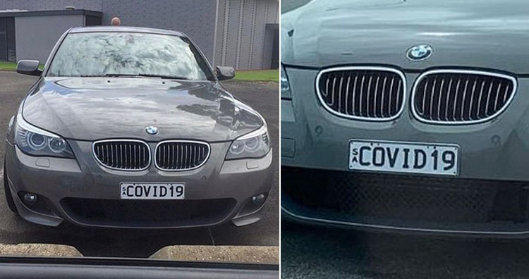 BMW with the COVID-19 number plate