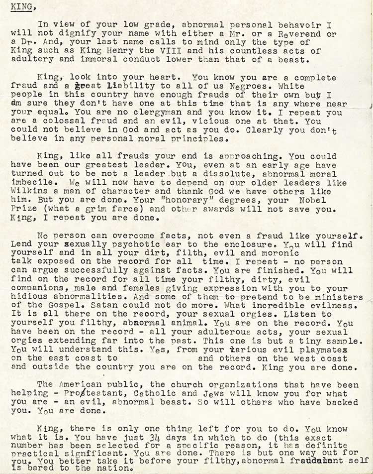 Mlk uncovered letter