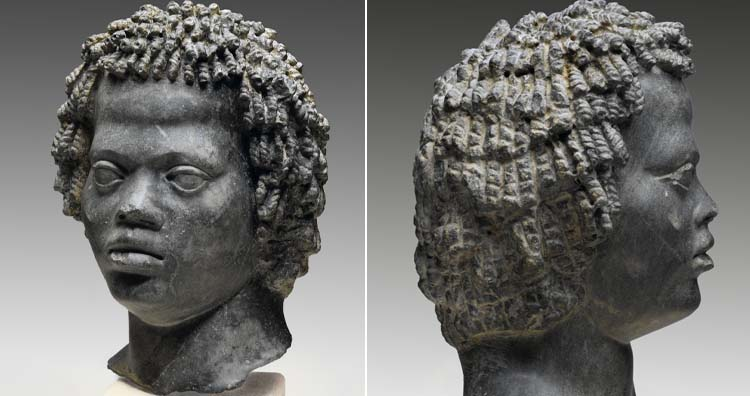 Egyptian head of a man with tight and curly hair