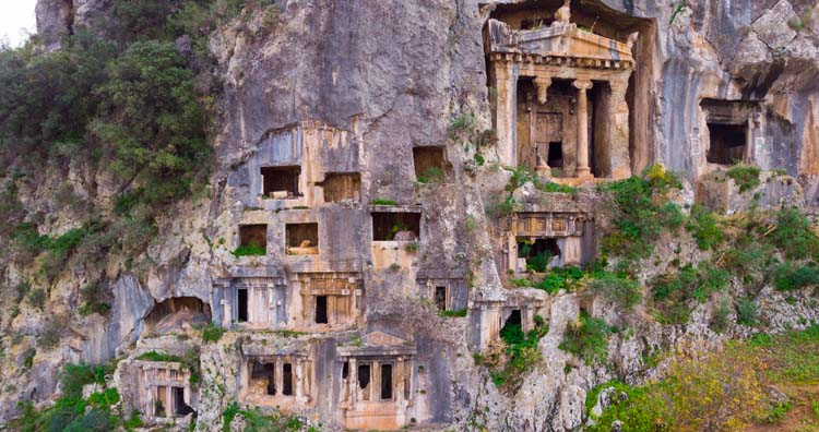 Rock-cut tombs in Myra Ancient City of Lycia